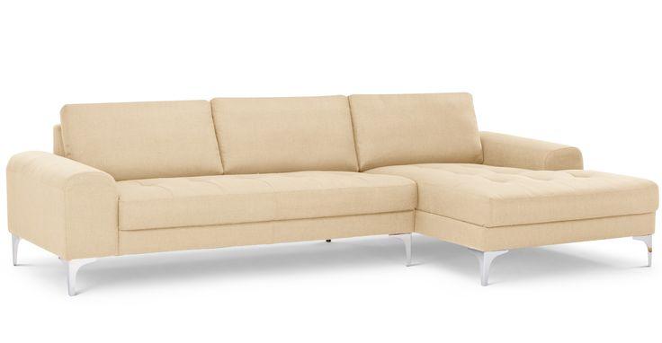 Vittorio, canapé d'angle droit, beige orge (pour la couleur)