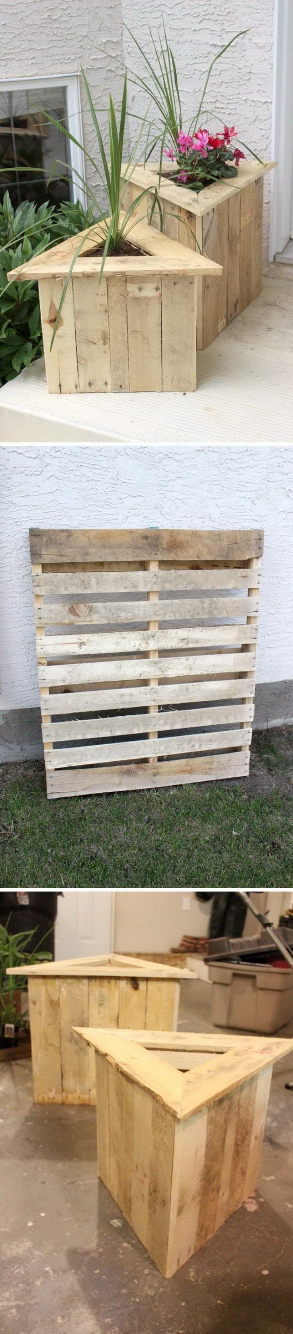 17 best ideas about wood pallet planters on pinterest for Flower beds out of pallets