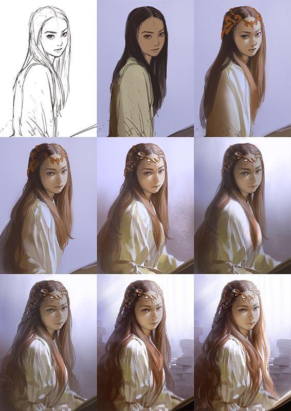 """YUU菊池 Yuu Kikuchi on Twitter: """"「貧しい私のもとに来た王様が『お前は妾との間に生まれた1人娘だ』と言ってお城に招いてくれたの。おかげで書も読めるようになったし、髪だって今ではこんなにふわふわよ?」というストーリーを想定して描きました(嘘) 毎度顔が変わりすぎる・・。 http://t.co/Y84QqT1t1P"""""""