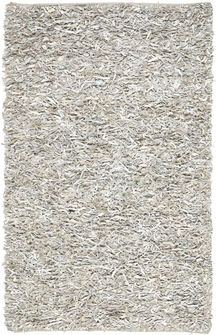 safavieh leather shag collection handmade white leather area rug 4 feet by 6 feet x