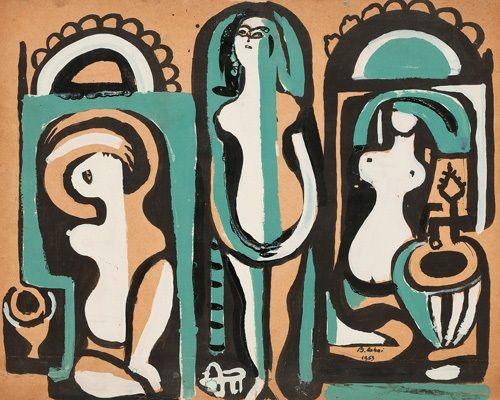 Figurative Composition by Bedri Rahmi Eyuboglu