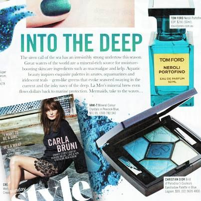 It's time to take to the waves with your luscious shadows and evoke the call of the Mermaids in this week's Sunday Style! Check out Vani-T Mineral Colour Crystals in Peacock Blue in this week's stunning sea inspired beauty pages.