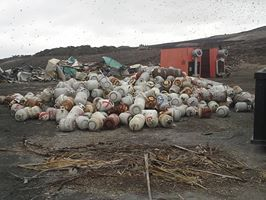 Propane cylinders should never be thrown away. Take them to one of the seven Home Chemical and Recycling Centers. Find one near you at http://www.swa.org/site/hhw/Collection_Sites/hhw_collection_sites.htm