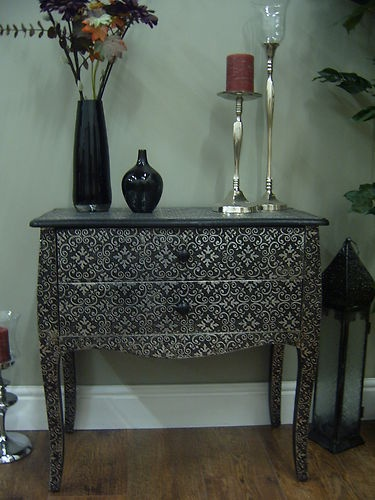 Black Silver Embossed Metal Marrakesh Moroccan Style Chest 2 Drawers  Marrakech