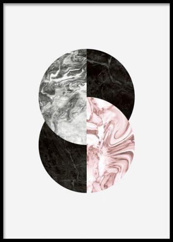 Modern tavla, fin till inredning av hallen. Grafiska tavlor och posters med moderna motiv. Marmor i grått, svart och rosa.