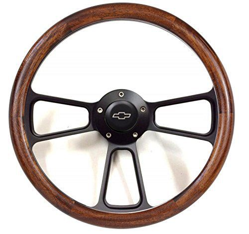"""14"""" Handcrafted Mahogany Half Wrap & Black Billet Steering Wheel for 1974 – 1994 Chevy & GMC Trucks, Blazer, Jimmy, Suburban with original steering column & all years of Chevy Pick Up Truck, Suburban with Aftermarket GM-Style Column – Flaming River, Ididit,... see more details at https://bestselleroutlets.com/automotive-parts-accessories/product-review-for-1974-94-chevy-ck-truck-suburban-14-handcrafted-mahogany-steering-wheel-kit/"""