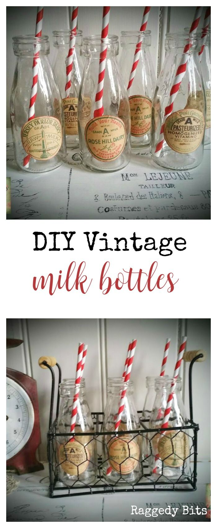 A super easy project to add some Vintage Farmhouse Charm to some plain milk bottles |  DIY Vintage Milk  Bottles | www.raggedy-bits.com