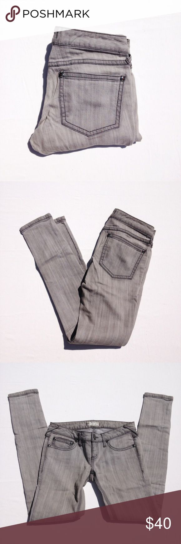 FREE PEOPLE skinny jeans Classic, gray with a little stretch. Inseam appx 31, rise appx 7. Thank you for visiting my closet. Please let me know if you have any questions. Bundle 15% off for 2. Free People Jeans Skinny