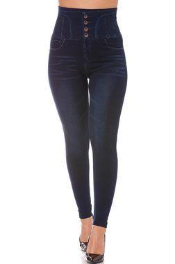 Leggings Minceur Bleu imitation Jean Taille haute amincissant. 15-775 15-772
