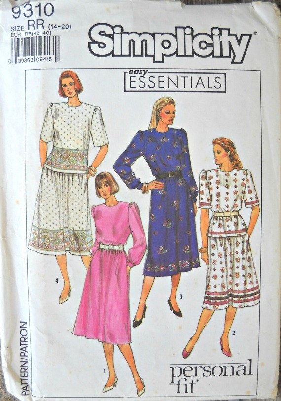 Simplicity 9310, Misses/Miss Petite Two Piece Dress pattern, sizes 14-20, Factory Folded Uncut, Vintage 1989 by CurlicueCreations on Etsy