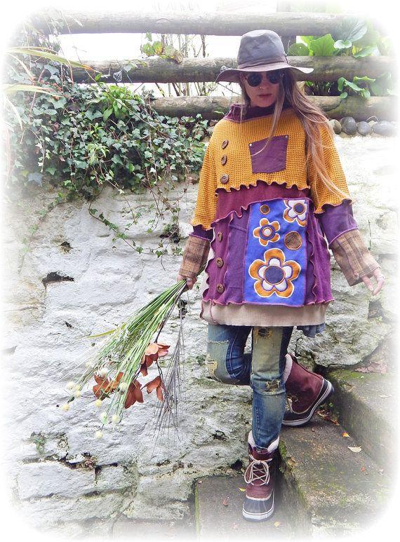 Retro fiore Jumper riciclato maglione Upcycled senape viola Whimsy Boho Hippie anni 60 anni 70 unico Funky Eco amichevole Plus Size Large X-Large