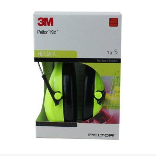 3M H510AKGC Peltor Kid - Cuffia anti-rumore molto leggera, per livelli di rumore fino a 98dB, colore: Verde fluorescente, taglia da bambino, dai 2 anni in su