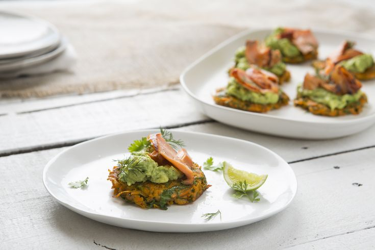 Sweet Potato Fritters with Smashed Avocado and Salmon - Maggie Beer