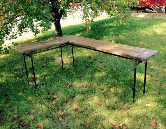 The Elle Desk Reclaimed Wood L Desk Wood Office Desk with (optional) Drawer and Keyboard Tray L-Desk