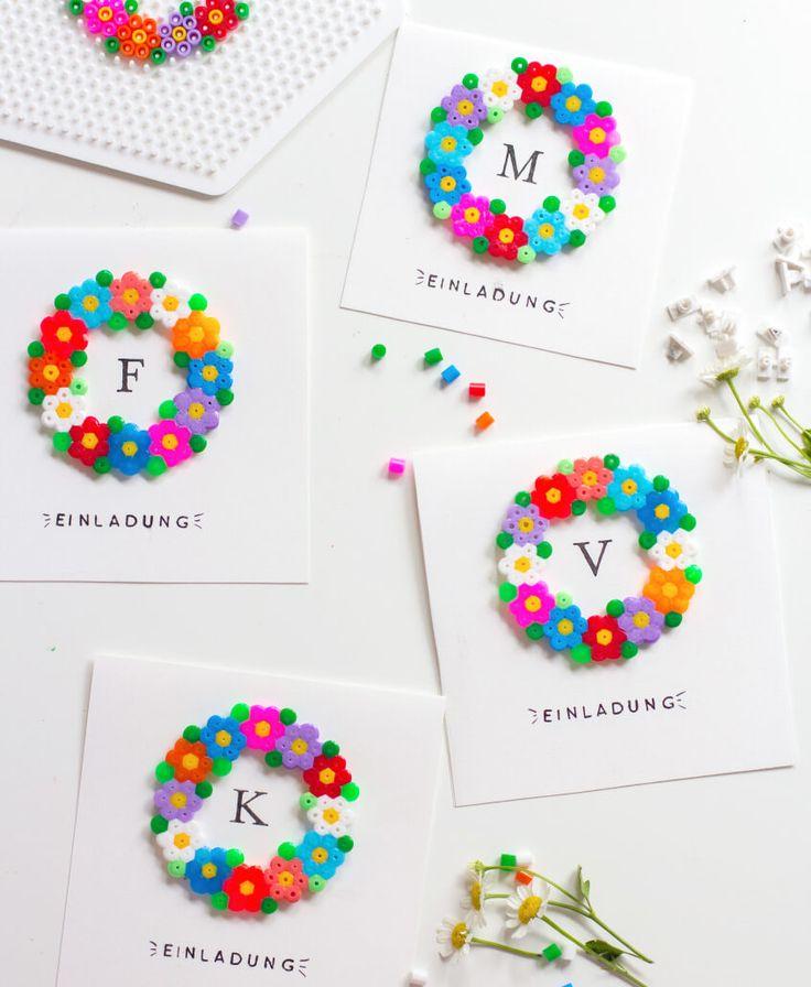 Einladungskarten mit Bügelperlen