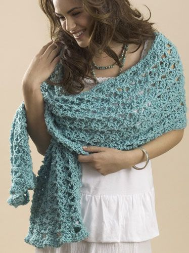 """One Skein Summer Wrap   with Caron One Pound  designed by Marty Miller   Crochet  FINISHED MEASUREMENTS:  Wrap measures approximately 17""""/43 cm wide x 60""""/152.5 cm long   MATERIALS:    Caron International One Pound (100% acrylic; 16 oz/454 g, 812 yds/742 m skein):    1 skein  One size US N-15 (10 mm) crochet hook, or size to obtain gauge.  Yarn needle"""