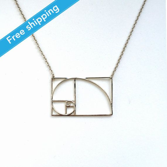 science jewelry: silver golden ratio necklace - 3D printed math pendant - wearable mathematics - Phi - irrational jewelry Fibonacci sequence
