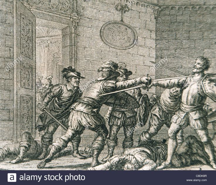 Francisco Pizarro (1478-1541). Spanish conqueror. Murder of Pizarro. Engraving. 18th century. Stock Photo