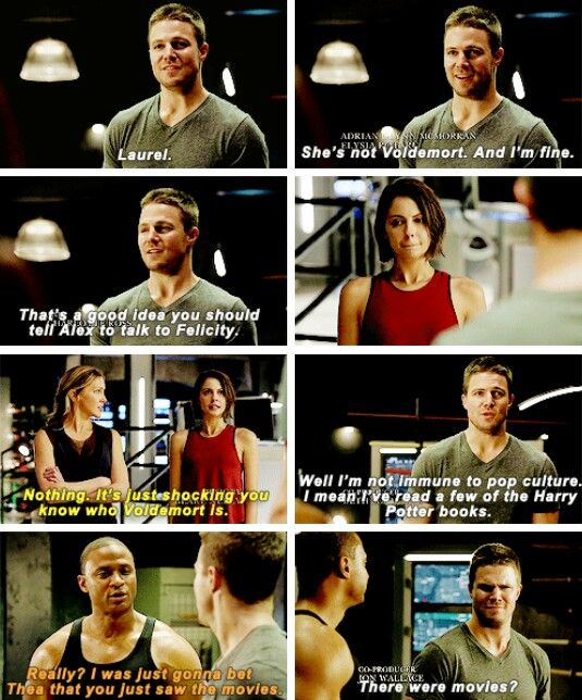 """It's just shocking you know who Voldermort is"" - Thea, Laurel, John and Oliver #Arrow ((Haha!))"