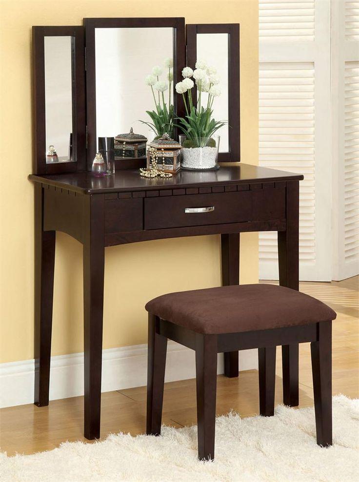 Ria Espresso Makeup Table Set Vanity Table Set