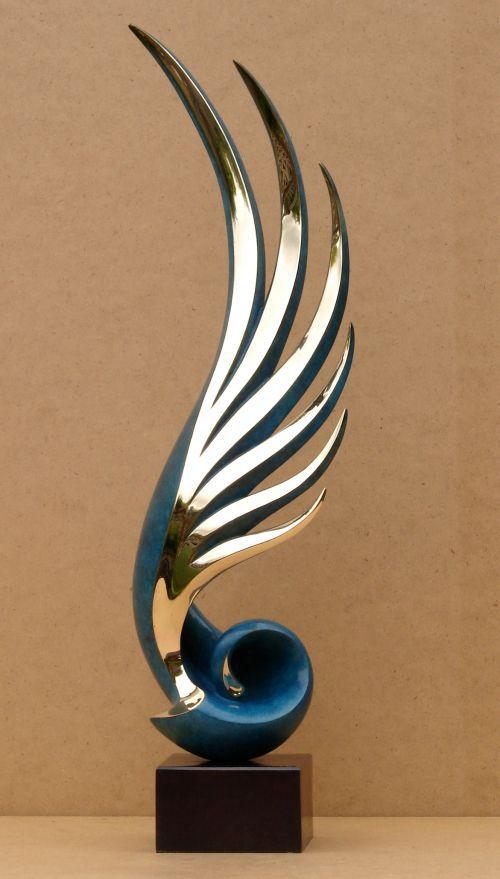 Bronze Interior Design sculpture by artist Charles Westgarth titled: 'Ascent (Figurative Abstract Bronze indoor statue)' £2500 #sculpture #art