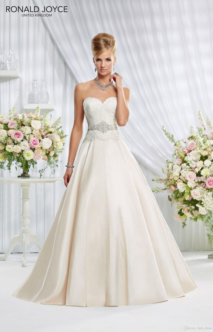 Wholesale Ronald Joyce Wedding Dresses A Line Sweetheart Backless Sleeveless Floor Length Crystal Belt Bridal Wedding Gowns Covered Button Eden, Free shipping, $141.37/Piece | DHgate Mobile