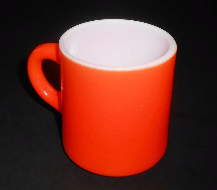 Vintage Mug, Orange, Coffee Mug, Orange Peel Texture, Coffee Cup, Milk Glass, by TheBackShak on Etsy