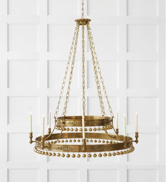 Designer Spotlight: John Rosselli | Natalya Chandelier in Hand-Rubbed Antique Brass | shop now: http://www.circalighting.com/search_results.aspx?q=natalya