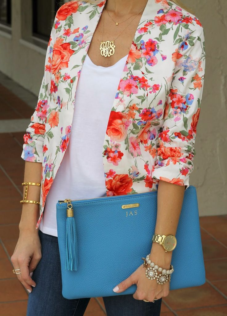 LOVE this floral blazer!!! Would do a different shirt, but like the accessories.