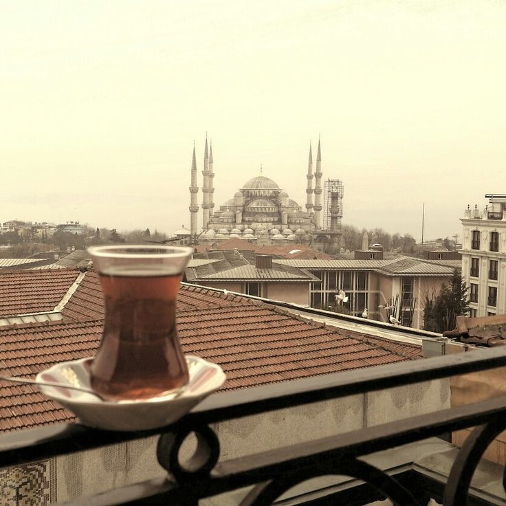 Çay on the balcony, overlooking the Sultanahmet Mosque and Bosporus