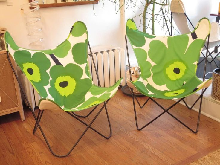 Knoll Butterfly Chair Newly Upholstered In Marimekko Fabric