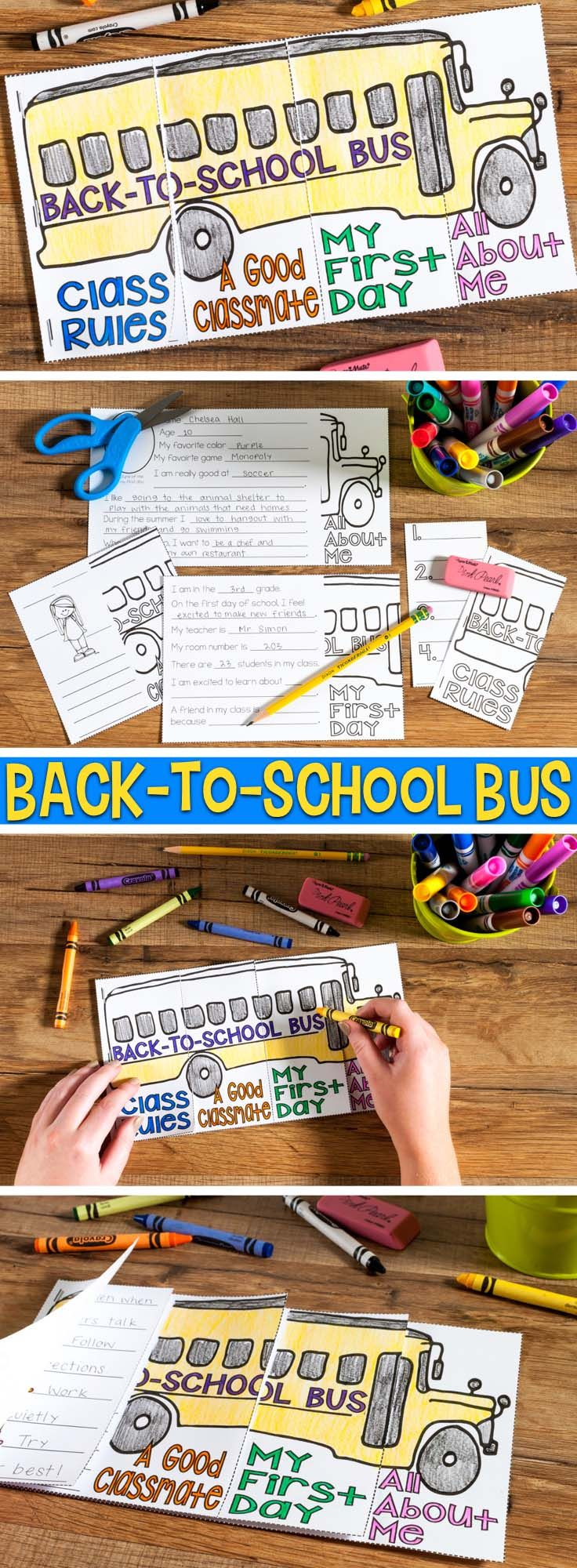 Back-to-School Bus Craftivity Flap Book is a fun craft to do during the first couple days of school. Students tell about themselves, their reactions to their first day of school, what makes a good classmate, and class rules. Students fill out each section, staple them together and color the bus. It makes a great beginning of the year bulletin board.
