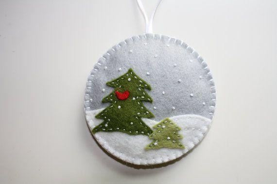 Felt Christmas Ornament  Winter Wonderland by GeorgeNRuby on Etsy, $10.00