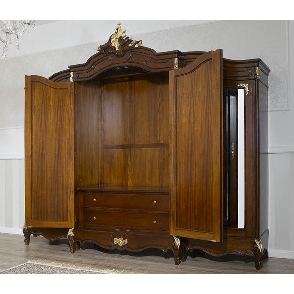 Armoire Julian Style Baroque Anglais Noyer Et Feuille Or 4 Portes