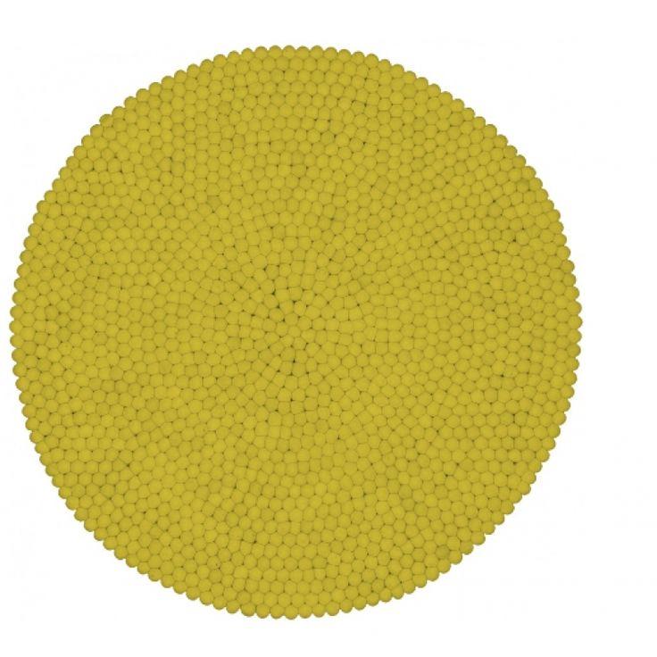 myfelt unifarben malina rund gelb carpet Teppich 100% wolle  140cm - object designprodukte online kaufen - möbel, tische
