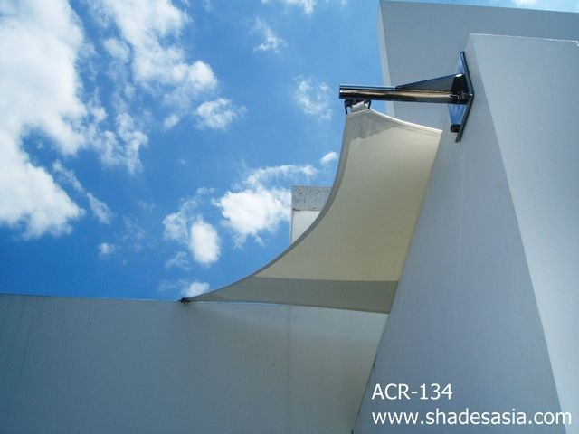 Beautiful shade sales, elegantly anchored by marine grade stainless steel anchored post. Shades Thailand Ltd., offers high quality shade products including high tension fabric structures, shade sails, awnings, canopies, tents, umbrellas and more. www.shadesasia.com