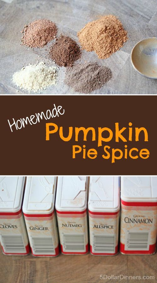 "Homemade Pumpkin Pie Spice from 5DollarDinners.  I ALWAYS overspend on ""poultry spice"" and ""pumpkin pie spice"" during the holidays because I never use them up.  I feel so silly knowing I had all the spices, in my pantry, every time. Knowledge is power. :) Thanks Pinners, for sharing!"