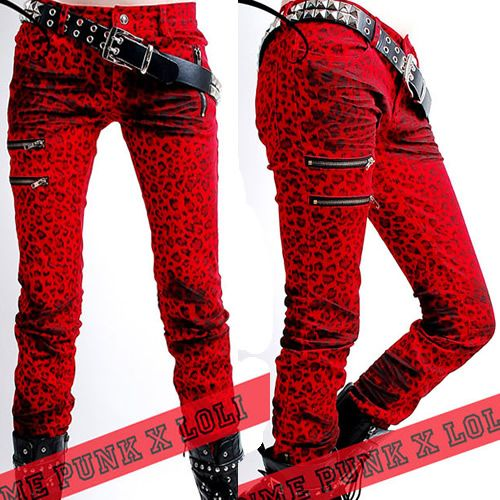 red emo outfits | Red Animal Print Punk Rock Emo Clothing Leggings Pants Websites SKU ...