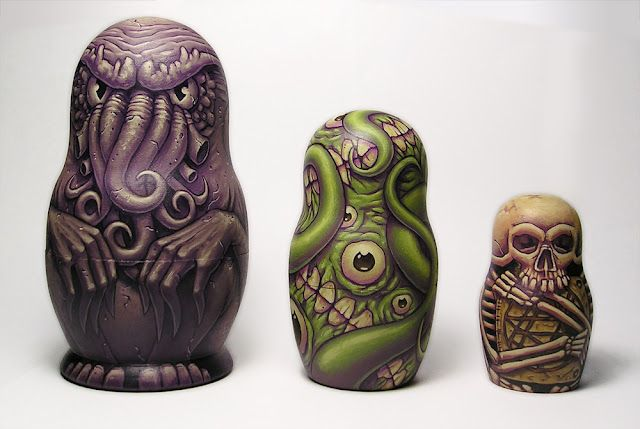 H.P. Lovecraft Russian Nesting Dolls. (Cthulhu, Shoggoth, and the Necronomicon.)