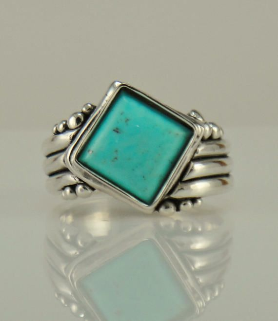 R1086 Sterling Silver Turquoise Ring One of a Kind