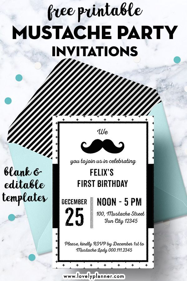 image relating to Free Printable Mustache Baby Shower Invitations called Free of charge Printable Mustache Social gathering Invites - Blank Editable