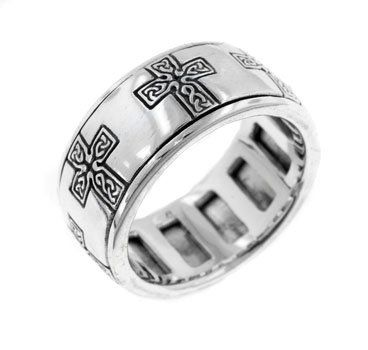 Sterling Silver 9mm Wide Celtic Knot Cross Spinning Spin Ring Size 8(Sizes 4,5,6,7,8,9,10,11,12,13,14,15) (Jewelry)