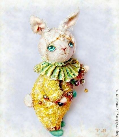 """Елочная игрушка """"Солнечный зайчик"""" - жёлтый,елочная игрушка,заяц,текстиль"""