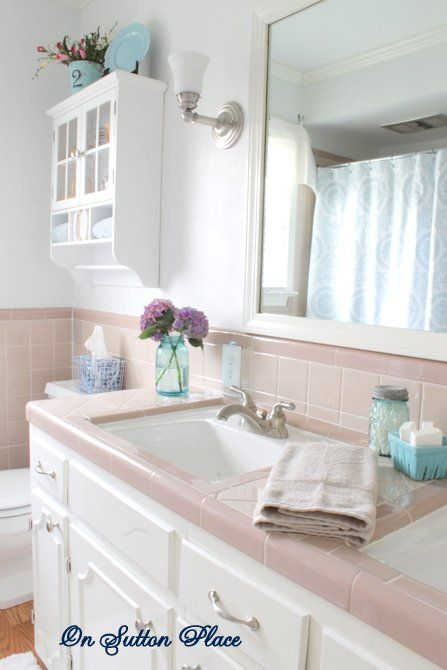 73 best what to do with a 50 39 s pink bathroom images on - Update bathroom tile without replacing ...