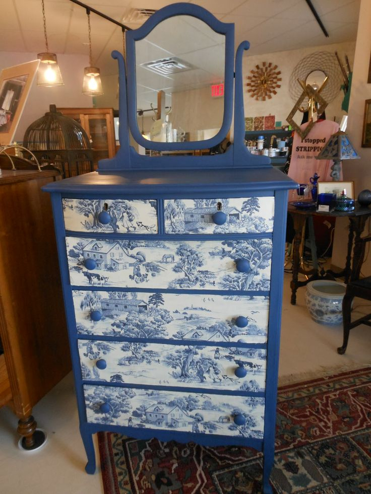 Charcoal Pastorale Toile from the Annie Sloan Fabric Collection & Napoleonic Blue Chalk Paint® decorative paint by Annie Sloan on a tall chest of drawers | By stockist TLC Vintage Collection