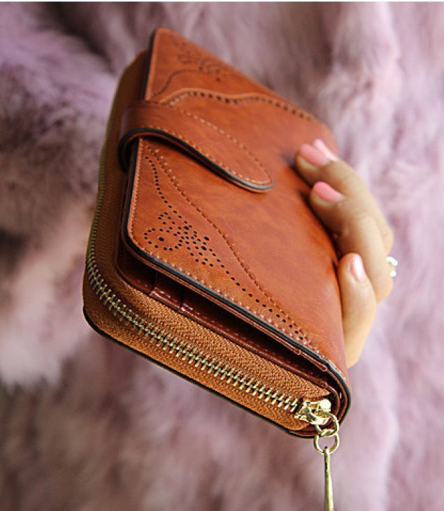 Women Brown Wallet Leather Long Zipper Wrislet Purse