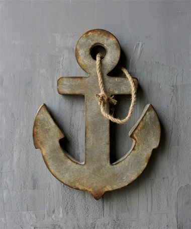 Metal Anchor Wall Decor w/ Rope Hanger