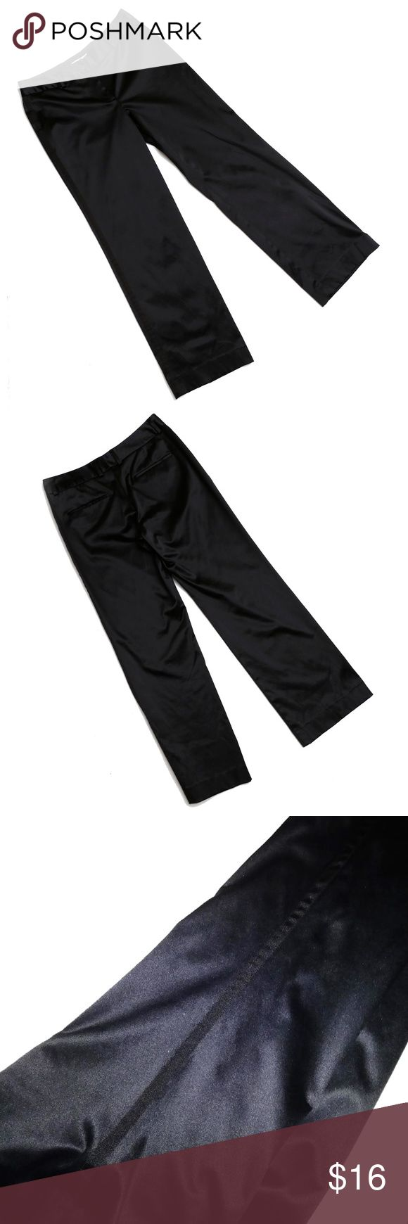"""Isaac Mizrahi for Target - Black Satin Tuxedo Pant Classic satin tuxedo stripe pants by Isaac Mizrahi for Target.  Back welt pockets still have the stitching in them to hold them closed, but they are real pockets.  No front pockets for a smooth look.  Grosgrain ribbon down each leg on the side for a classic tuxedo look.  Zip fly and button front with belt loops around the waistband.  Approximate measurements:  32"""" around waistband/30.5"""" inseam/9.5"""" rise from crotch seam to top of waistband…"""