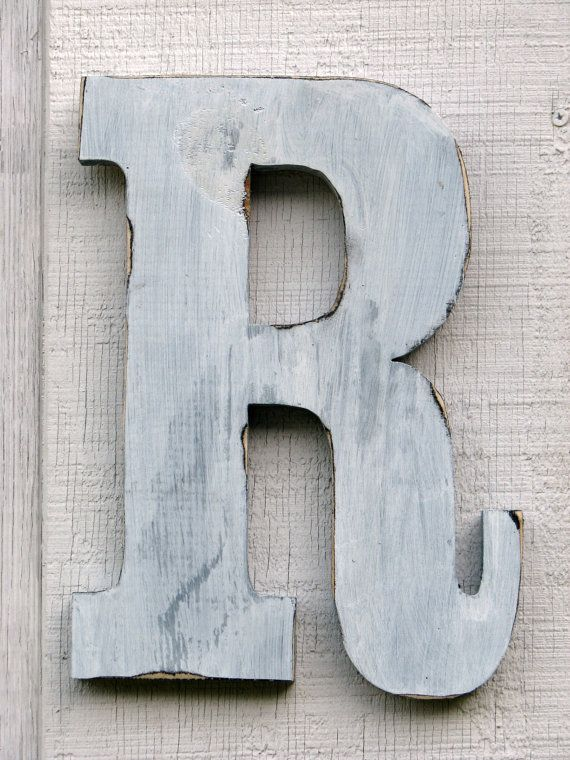 rustic wooden letter r distressed painted white12 inch tall wood name letters custom wedding gift