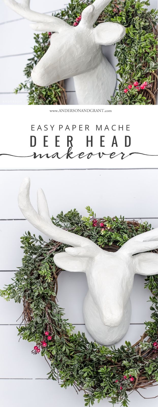 See how a basic paper mache deer head from the craft store is given a makeover with joint compound from the hardware store.  |  www.andersonandgrant.com